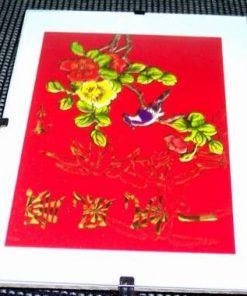 Tablou Feng Shui cu pasarea fericirii si bujori