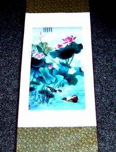 Pergament din matase, cu lotusi