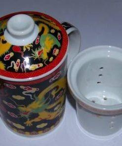 Cana de ceai din portelan, cu sita si capac - Dragon