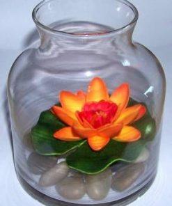 Bol din sticla cu pietre naturale si nufar orange