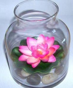 Bol din sticla cu pietre naturale si nufar roz