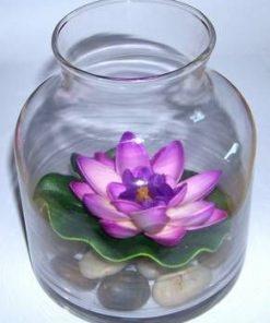 Bol din sticla cu pietre naturale si nufar mov