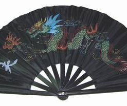 Evantai de perete cu dragonul imperial, pictat - negru