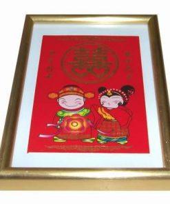 Tablou Feng Shui cu simbolul dublei fericiri auriu