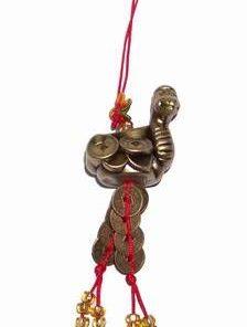 Canaf Feng Shui cu Sarpele auriu, monede si nod mistic rosu