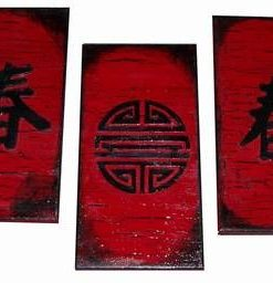 Set de 3 tablouri Feng Shui cu ideograma sanatatii
