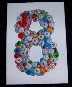 Tablou Feng Shui cu cifra 8 si cristale multicolore