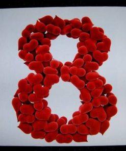 Tablou Feng Shui cu cifra 8 si inimioare rosii