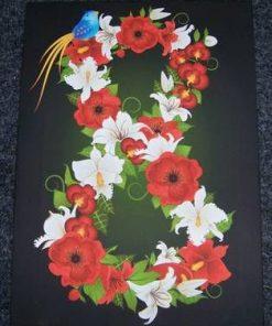 Tablou Feng Shui cu cifra 8, flori si Pasarea Fericirii