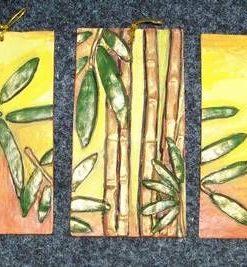 Set de 3 tablouri, reprezentand bambusul, in relief