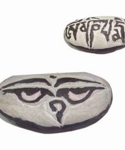 Piatra scultptata manual cu mantra Om Mani Pad Me Hum - mare