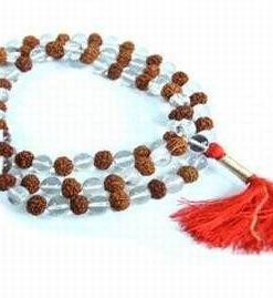 Colier Mala cu 108 sfere din cristal de stanca si Rudraksha