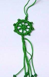 Canaf Feng Shui cu Roata Norocului - Dharma Wheel - verde