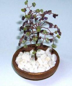 Copacel Feng Shui cu cristale de ametist si olivina