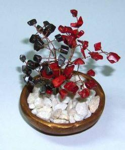 Copacel Feng Shui cu cristale de hematit si coral