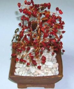 Copacel Feng Shui cu cristale de coral, frunzulite aurii