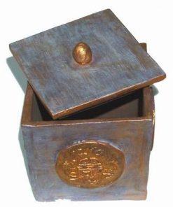 Cubul / Vasul bogatiei din ceramica, cu capac - Metal