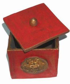 Cubul / Vasul bogatiei din ceramica, cu capac - Foc