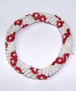 Bratara pe elastic, cu perlute albe si rosii - dragoste