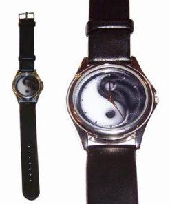 Ceas quarz - Yin-Yang gri - curea din piele neagra