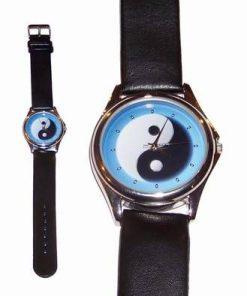 Ceas quarz - Yin-Yang bleu - curea din piele neagra
