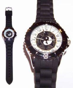 Ceas quarz - Yin-Yang negru si cele 12 semne zodiacale