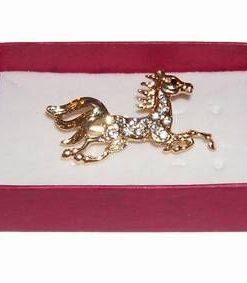 Brosa placata cu aur si strasuri - Calul Norocului Absolut