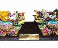 Pereche de Pi Xie colorati, pe suport