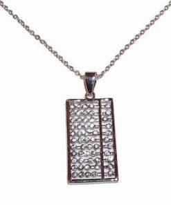 Pandantiv placat cu argint si strasuri, pe lant - Abac