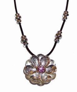 Colier cu Floare de Lotus si cristal de cuart roz