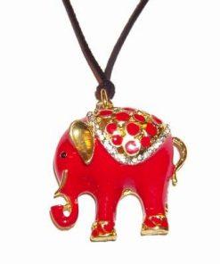 Talisman placat cu elefantul protectiei rosu, pe siret negru