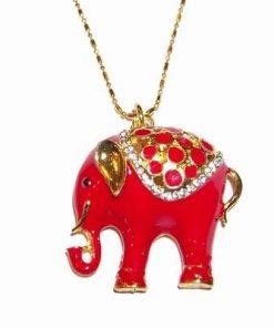 Talisman placat cu elefantul protectiei rosu, pe lant placat