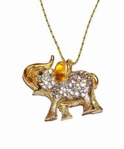 Talisman placat cu elefantul protectiei cu 6 colti pe lant