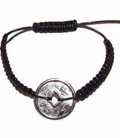 Bratara neagra, reglabila, cu moneda argintie - unisex