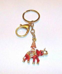 Breloc placat - Elefantul rosu cu stupa