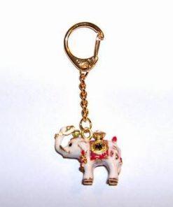 Breloc placat - Elefantul alb cu strasuri