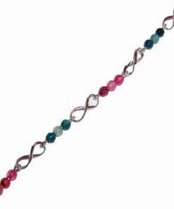 Bratara din argint cu cifra 8, cristale de rubin si smarald