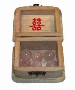 Cufar din lemn cu 6 sfere din cuart roz