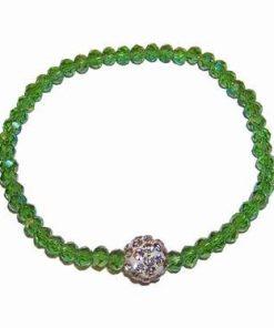 Bratara Shamballa pe elastic cu cristale multifatetate verzi