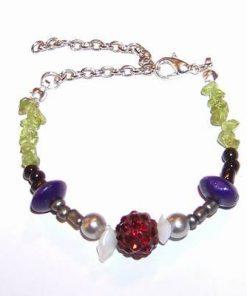 Bratara Shamballa cu cristale de olivina