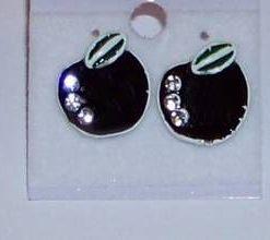 Cercei din metal nobil, cu strasuri - mere negre