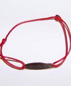 Bratara din aur pe siret rosu, reglabil - pentru copii