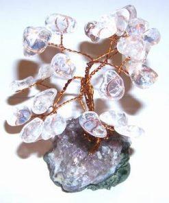 Copacel Feng Shui din cristal de stanca pe suport ametist
