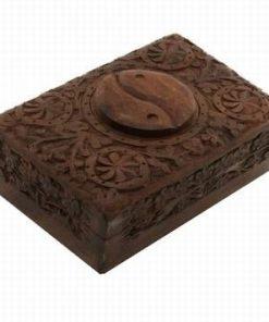 Casetuta din lemn de nuc cu simbolul Yin-Yang