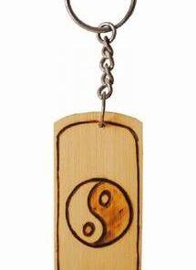 Breloc Feng Shui din bambus, gravat manual - Yin-Yang