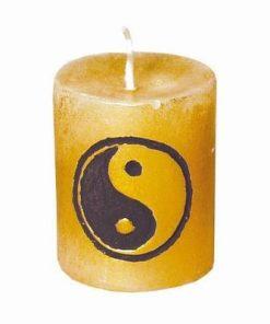 Lumanare aurie cu simbolul Yin-Yang