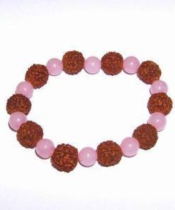 Bratara cu Rudraksha si cristale naturale de cuart roz- Oaie