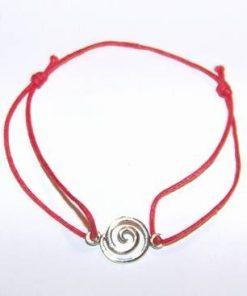 Bratara rosie, reglabila, cu simbol Reiki din argint