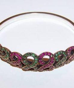 Bratara din argint cu cristale de rubin si smarald, 8 de Opt