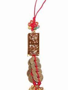 Canaf Feng Shui cu lingou auriu, monede si nod mistic